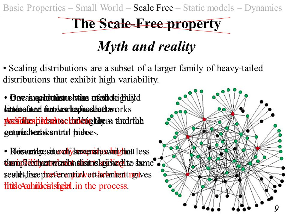 Basic Properties – Small World – Scale Free – Static models – Dynamics 9 The Scale-Free property Myth and reality Scaling distributions are a subset of a larger family of heavy-tailed distributions that exhibit high variability.