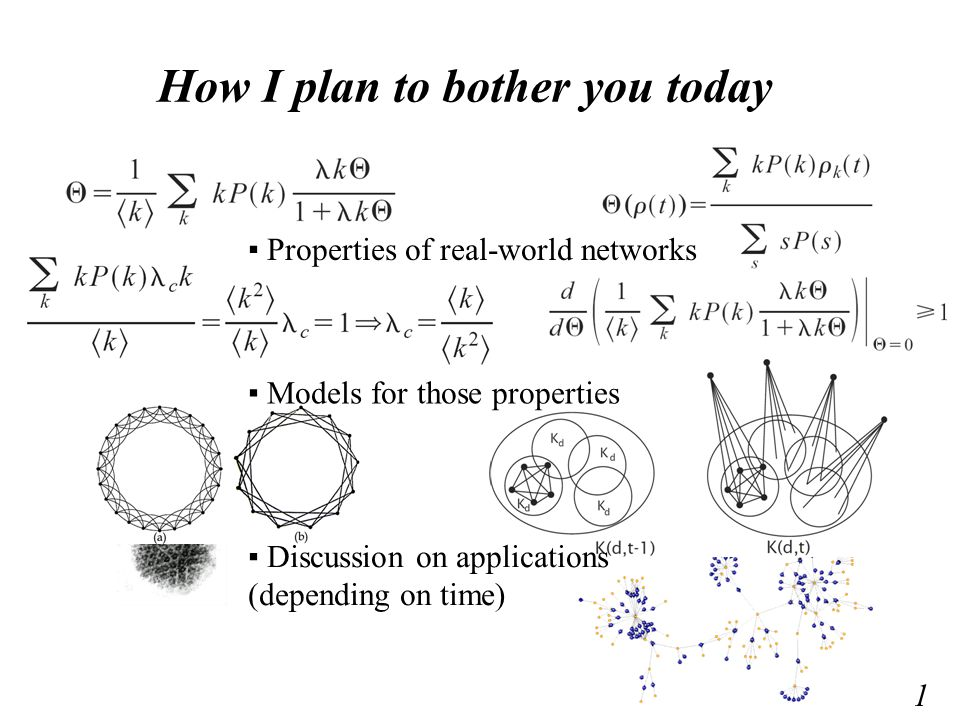 Basic Properties – Small World – Scale Free – Static models – Dynamics 2 We analyze the structure of (big) networks from the real-world to understand which properties are underlying them.