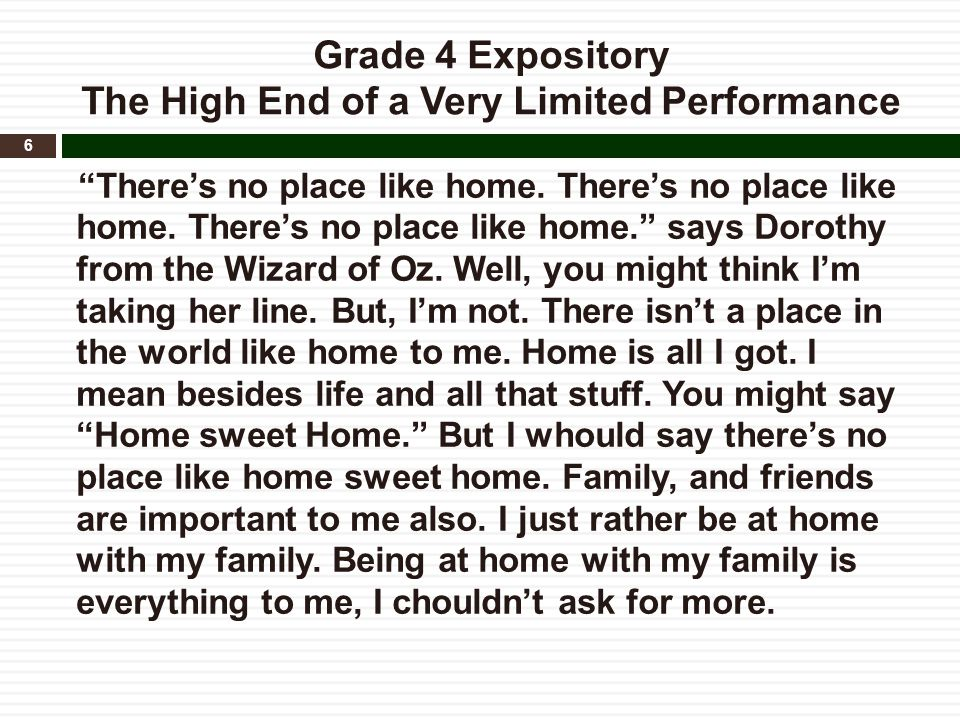 """Grade 4 Expository The High End of a Very Limited Performance """"There's no place like home. There's no place like home. There's no place like home."""" sa"""