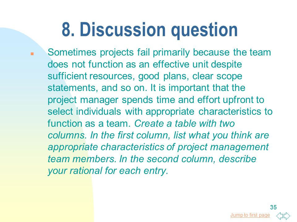 Jump to first page 35 8. Discussion question n Sometimes projects fail primarily because the team does not function as an effective unit despite suffi