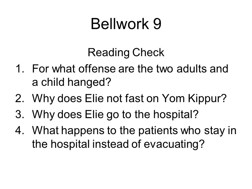 Bellwork 9 Reading Check 1.For what offense are the two adults and a child hanged.