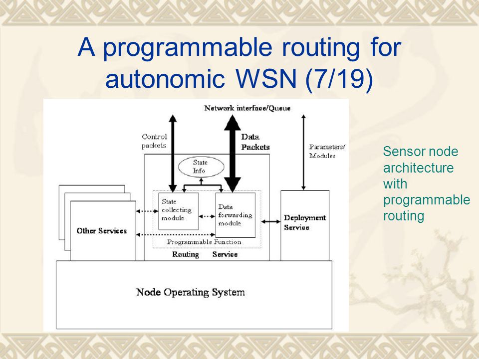 A programmable routing for autonomic WSN (7/19) Sensor node architecture with programmable routing