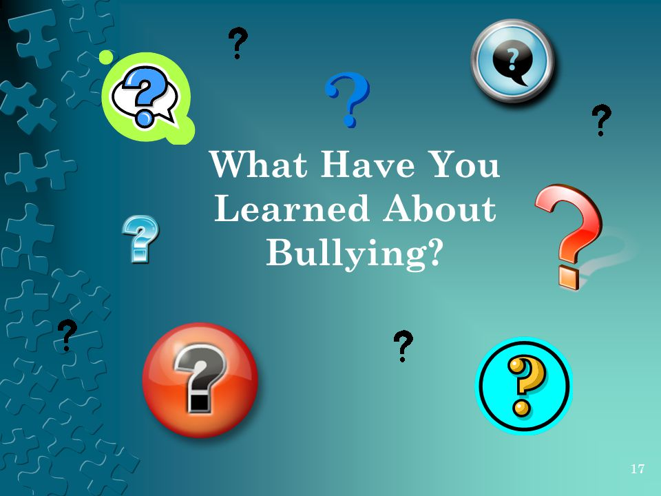 What Have You Learned About Bullying? 17