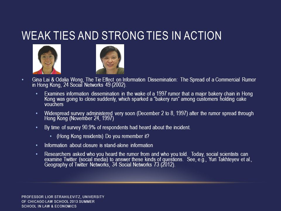 WEAK TIES AND STRONG TIES IN ACTION Gina Lai & Odalia Wong, The Tie Effect on Information Dissemination: The Spread of a Commercial Rumor in Hong Kong