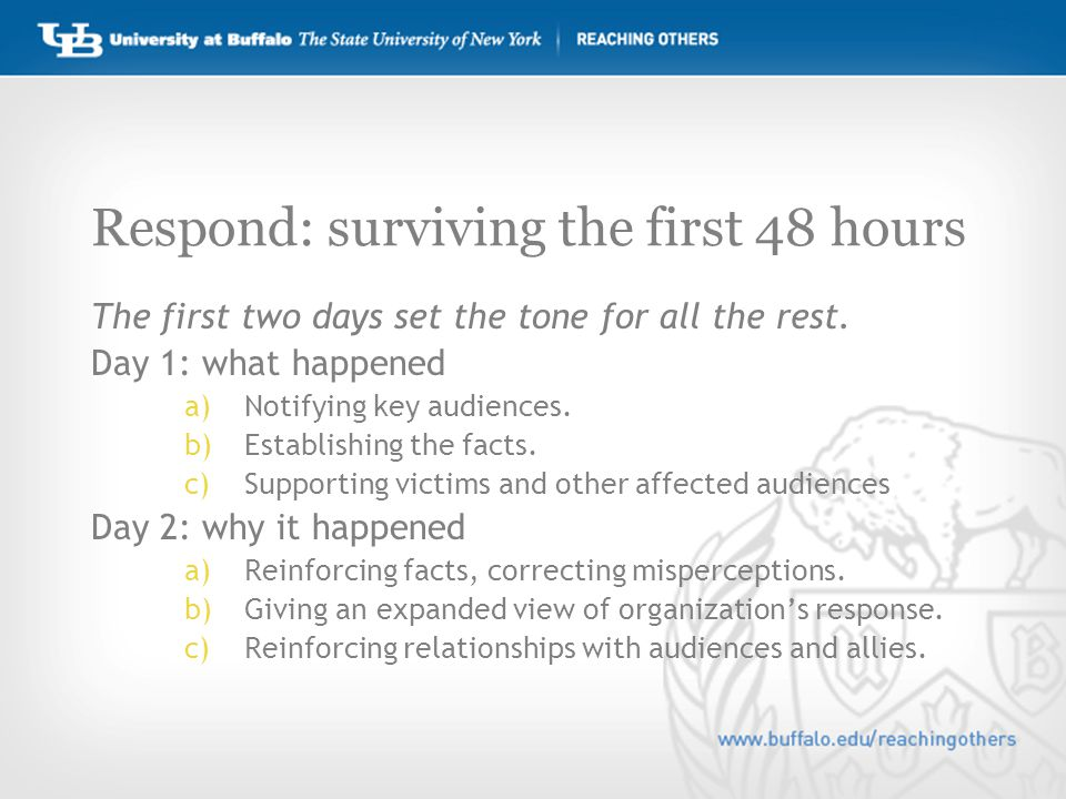 Respond: surviving the first 48 hours The first two days set the tone for all the rest.