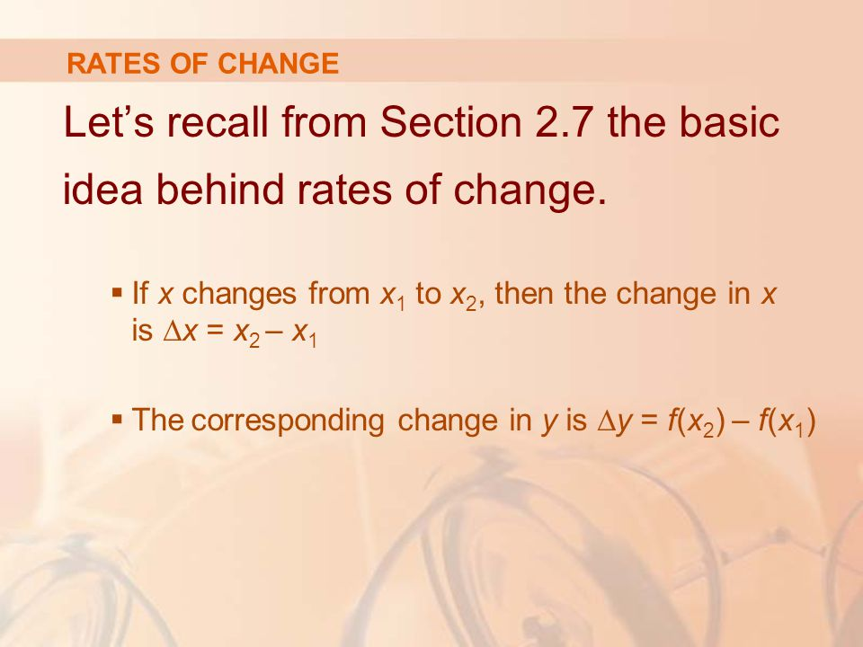 Let's recall from Section 2.7 the basic idea behind rates of change.
