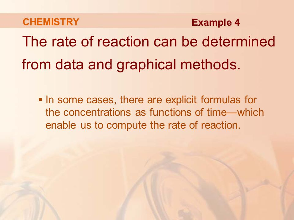 The rate of reaction can be determined from data and graphical methods.