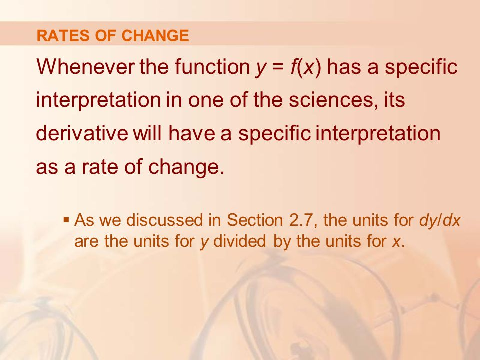 Whenever the function y = f(x) has a specific interpretation in one of the sciences, its derivative will have a specific interpretation as a rate of change.
