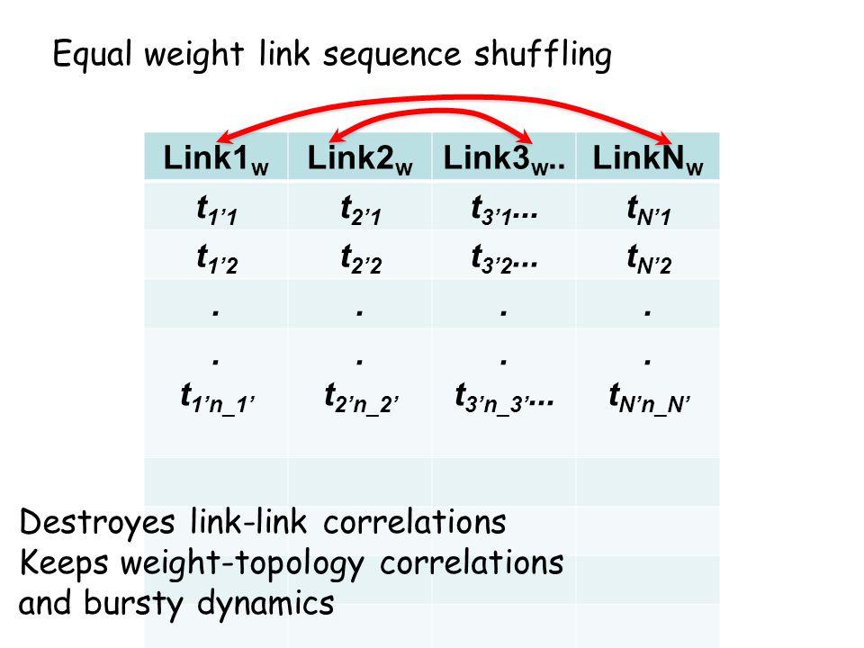 Link1 w Link2 w Link3 w..LinkN w t 1'1 t 2'1 t 3'1...t N'1 t 1'2 t 2'2 t 3'2...t N'2.....