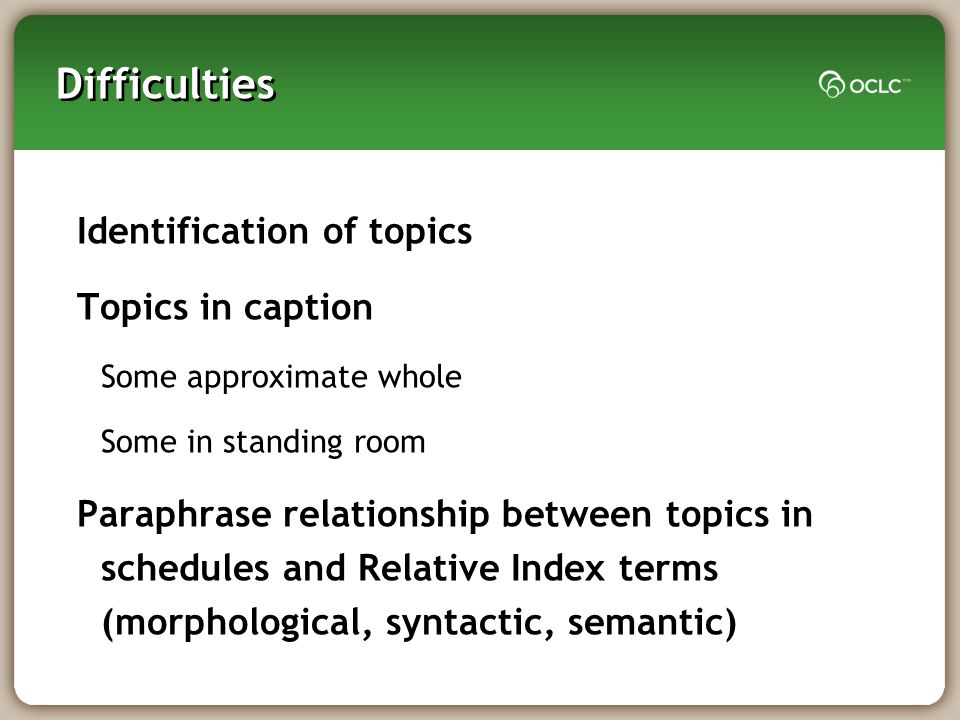 Difficulties Identification of topics Topics in caption Some approximate whole Some in standing room Paraphrase relationship between topics in schedules and Relative Index terms (morphological, syntactic, semantic)