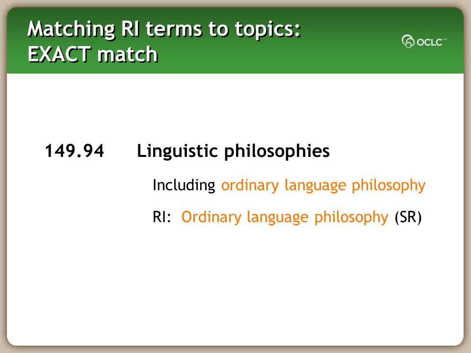 Matching RI terms to topics: EXACT match 149.94 Linguistic philosophies Including ordinary language philosophy RI: Ordinary language philosophy (SR)