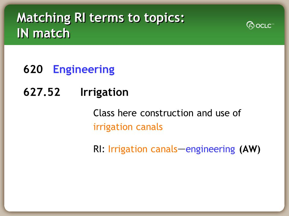 Matching RI terms to topics: IN match 620 Engineering 627.52 Irrigation Class here construction and use of irrigation canals RI: Irrigation canals — engineering (AW)