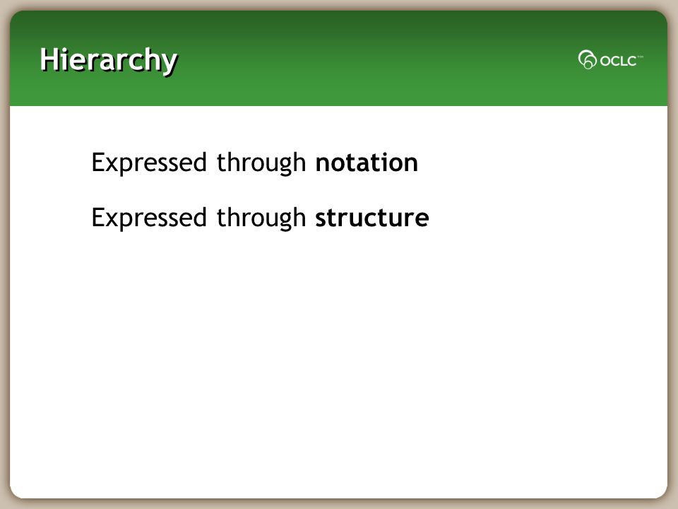 Hierarchy Expressed through notation Expressed through structure