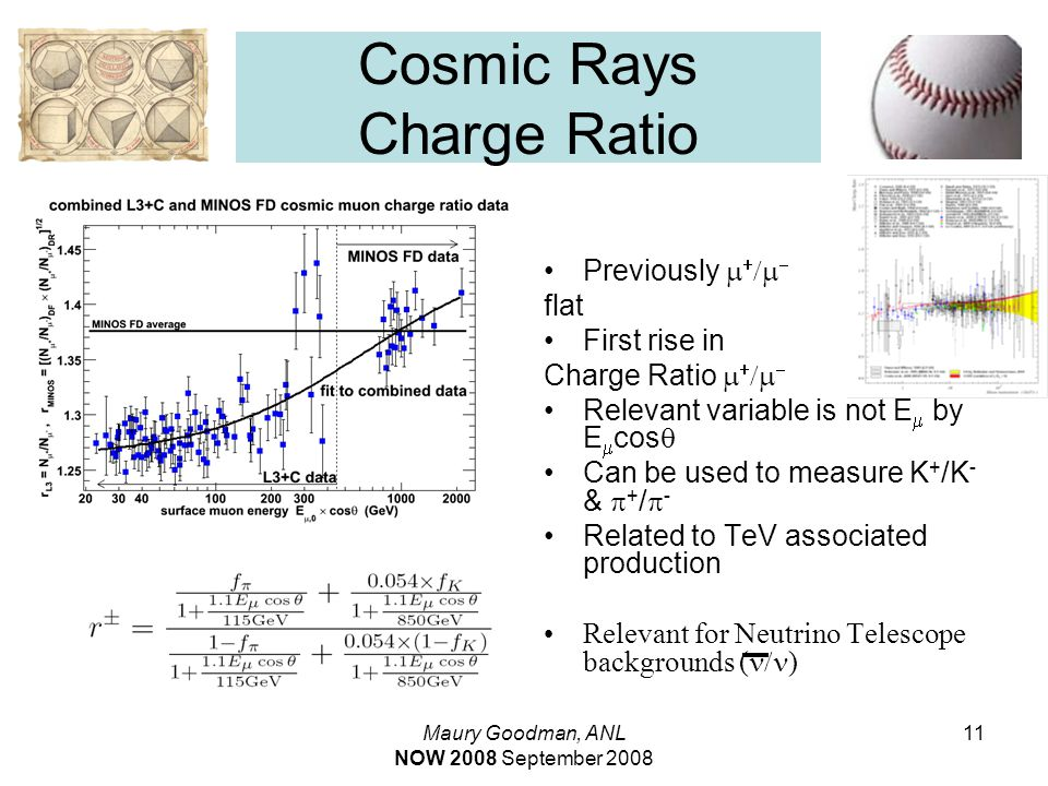 Maury Goodman, ANL NOW 2008 September 2008 11 Cosmic Rays Charge Ratio Previously     flat First rise in Charge Ratio     Relevant variable is not E  by E  cos  Can be used to measure K + /K - &  + /  - Related to TeV associated production Relevant for Neutrino Telescope backgrounds (  )