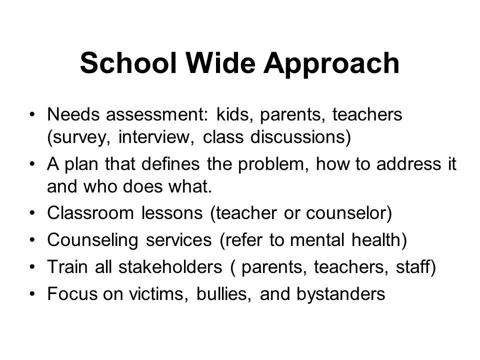 School Wide Approach Needs assessment: kids, parents, teachers (survey, interview, class discussions) A plan that defines the problem, how to address
