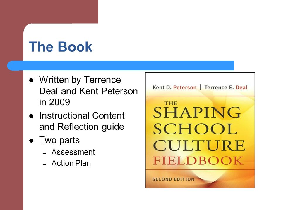 The Book Written by Terrence Deal and Kent Peterson in 2009 Instructional Content and Reflection guide Two parts – Assessment – Action Plan