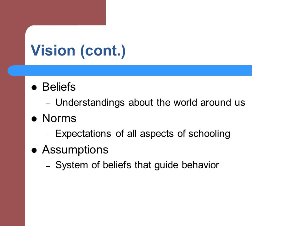 Vision (cont.) Beliefs – Understandings about the world around us Norms – Expectations of all aspects of schooling Assumptions – System of beliefs that guide behavior