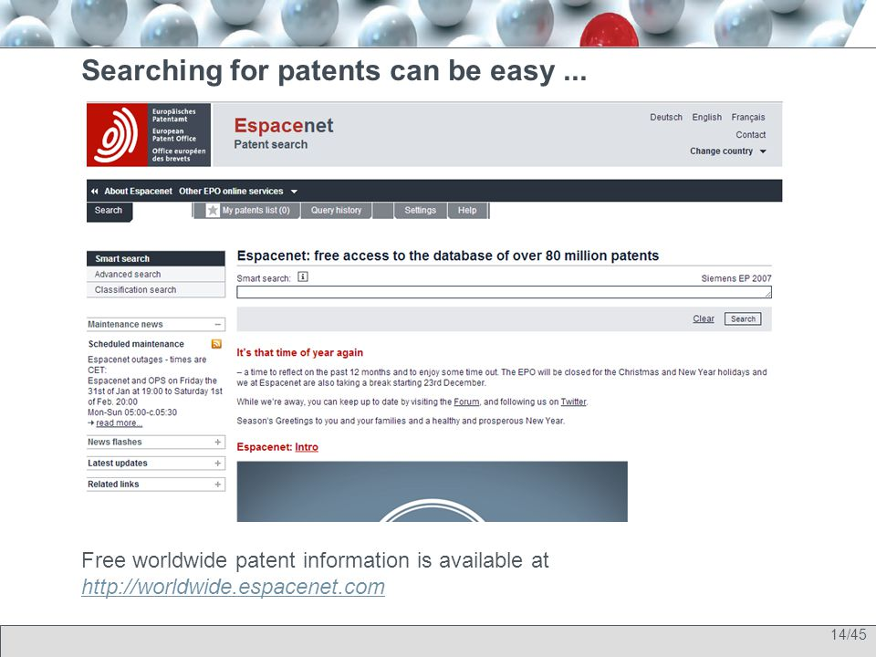 14/45 Searching for patents can be easy...