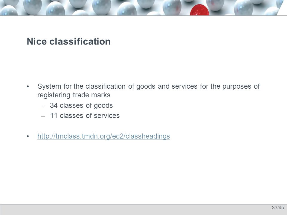 33/45 Nice classification System for the classification of goods and services for the purposes of registering trade marks –34 classes of goods –11 cla