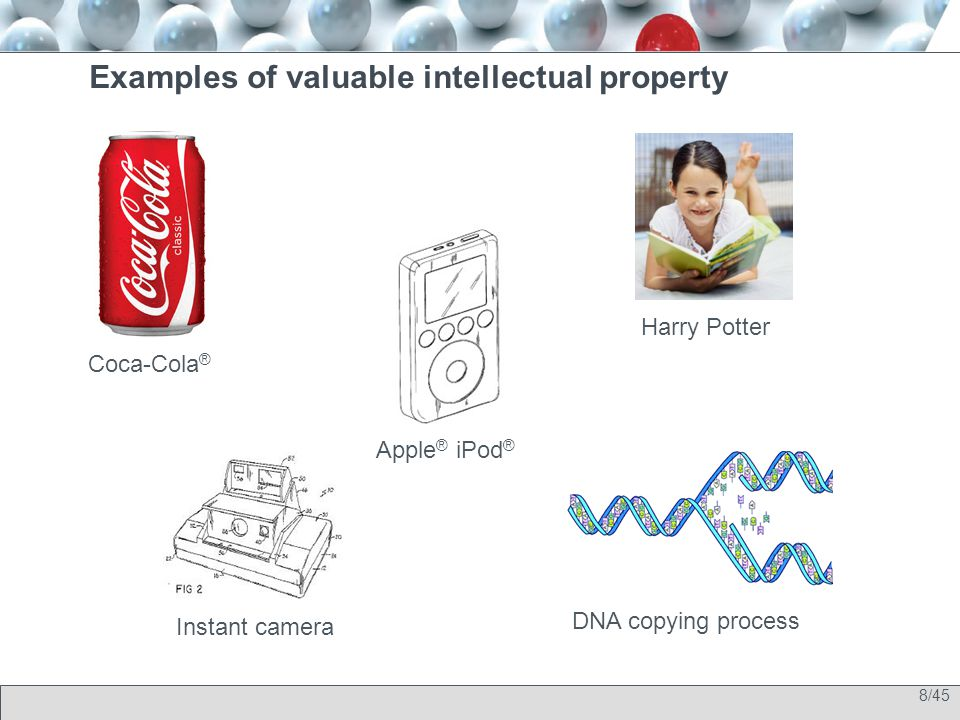 8/45 Examples of valuable intellectual property Coca-Cola ® Apple ® iPod ® Harry Potter Instant camera DNA copying process