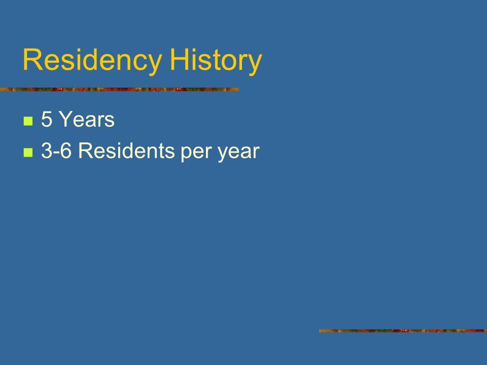 Residency History 5 Years 3-6 Residents per year