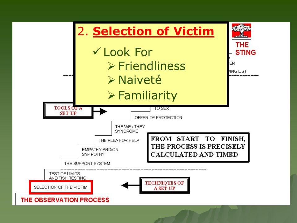 2. Selection of Victim Look For  Friendliness  Naiveté  Familiarity