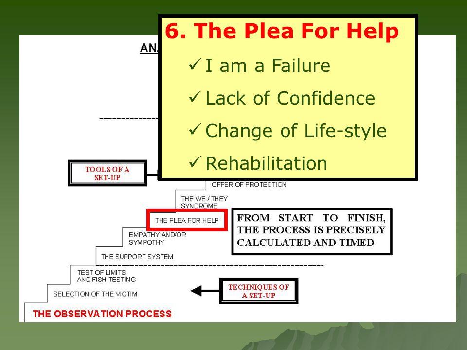 6. The Plea For Help I am a Failure Lack of Confidence Change of Life-style Rehabilitation
