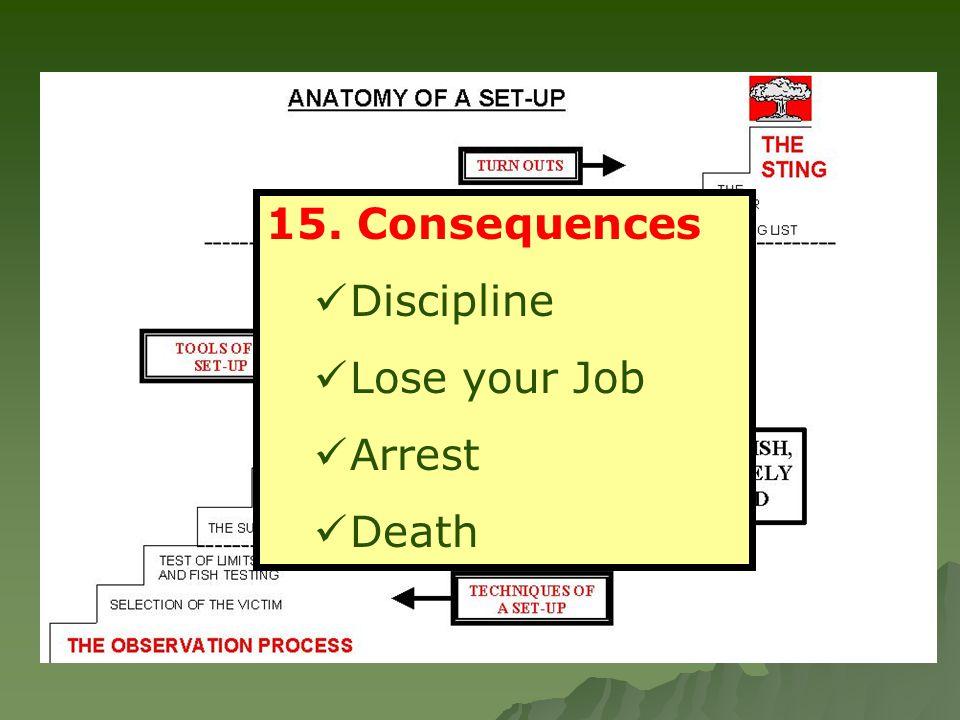 15. Consequences Discipline Lose your Job Arrest Death