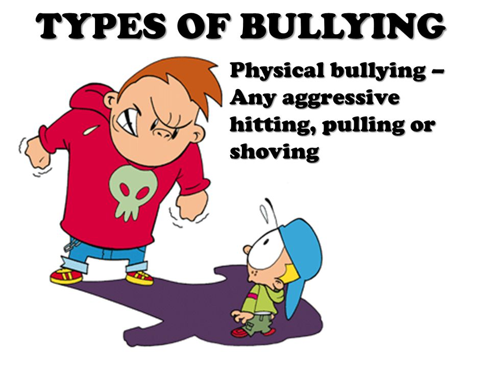 TYPES OF BULLYING Physical bullying – Any aggressive hitting, pulling or shoving