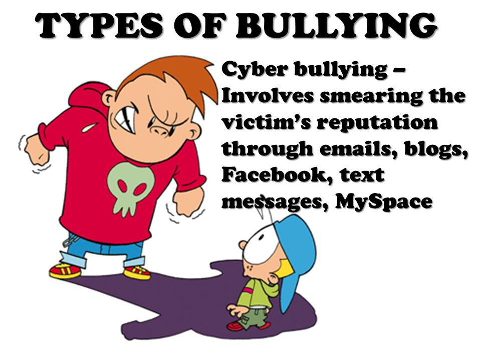 TYPES OF BULLYING Cyber bullying – Involves smearing the victim's reputation through emails, blogs, Facebook, text messages, MySpace