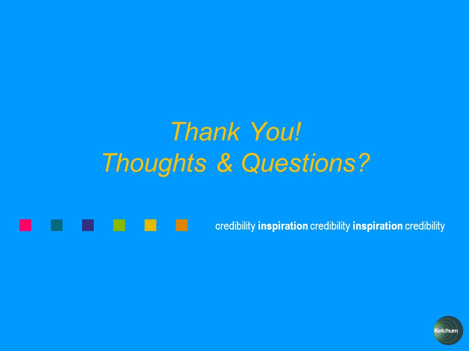 credibility inspiration credibility inspiration credibility Thank You! Thoughts & Questions?
