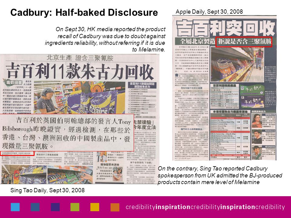 On Sept 30, HK media reported the product recall of Cadbury was due to doubt against ingredients reliability, without referring if it is due to Melami