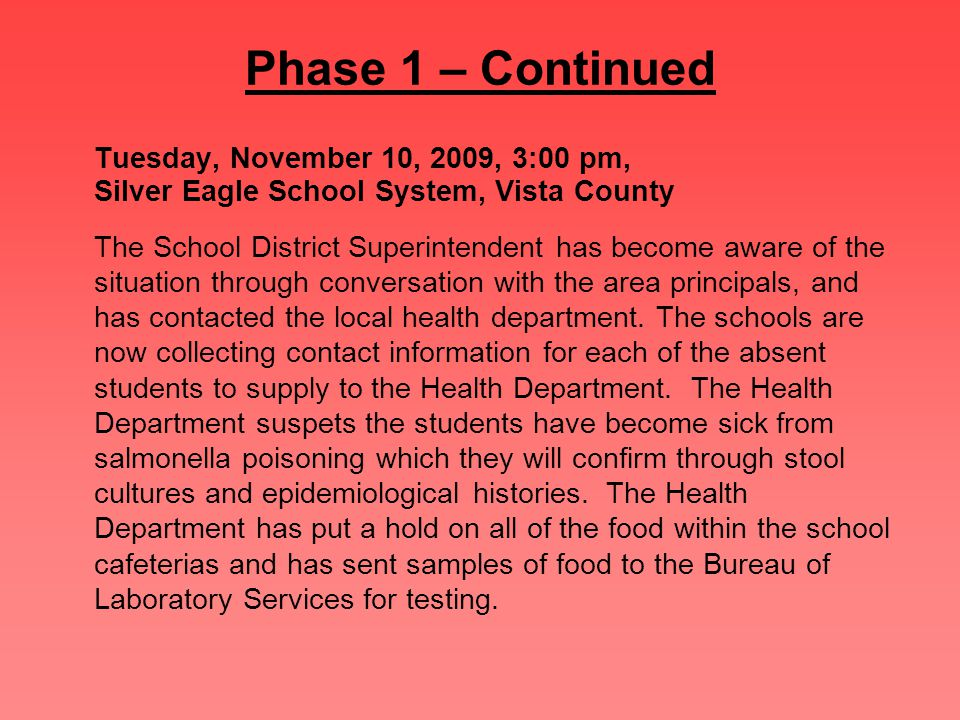Phase 1 – Continued Tuesday, November 10, 2009, 3:00 pm, Silver Eagle School System, Vista County The School District Superintendent has become aware of the situation through conversation with the area principals, and has contacted the local health department.