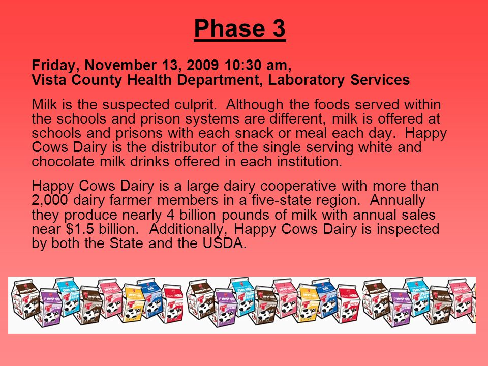 Phase 3 Friday, November 13, 2009 10:30 am, Vista County Health Department, Laboratory Services Milk is the suspected culprit. Although the foods serv