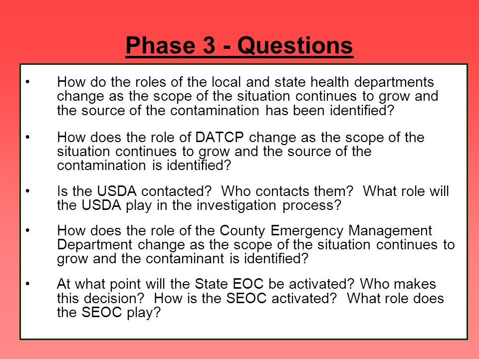 Phase 3 - Questions How do the roles of the local and state health departments change as the scope of the situation continues to grow and the source o