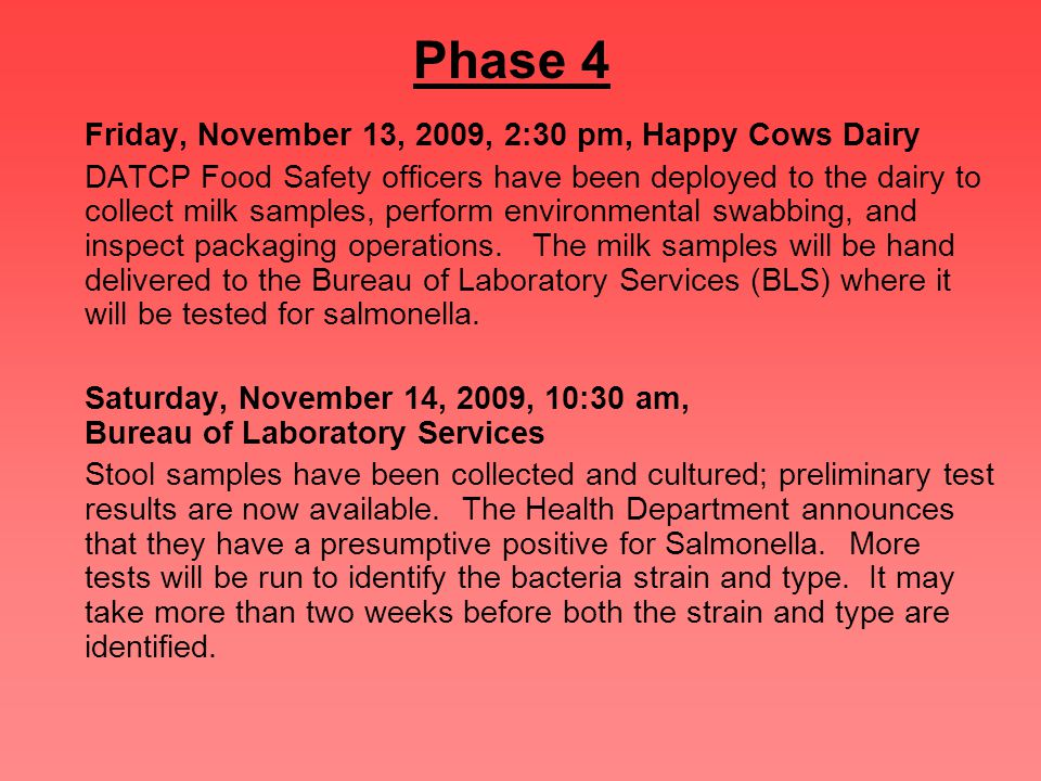 Phase 4 Friday, November 13, 2009, 2:30 pm, Happy Cows Dairy DATCP Food Safety officers have been deployed to the dairy to collect milk samples, perform environmental swabbing, and inspect packaging operations.