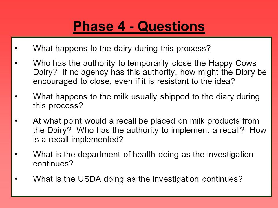 Phase 4 - Questions What happens to the dairy during this process? Who has the authority to temporarily close the Happy Cows Dairy? If no agency has t
