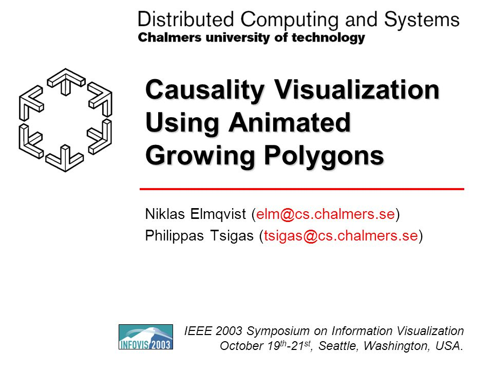 Causality Visualization Using Animated Growing Polygons Niklas Elmqvist (elm@cs.chalmers.se) Philippas Tsigas (tsigas@cs.chalmers.se) IEEE 2003 Symposium on Information Visualization October 19 th -21 st, Seattle, Washington, USA.