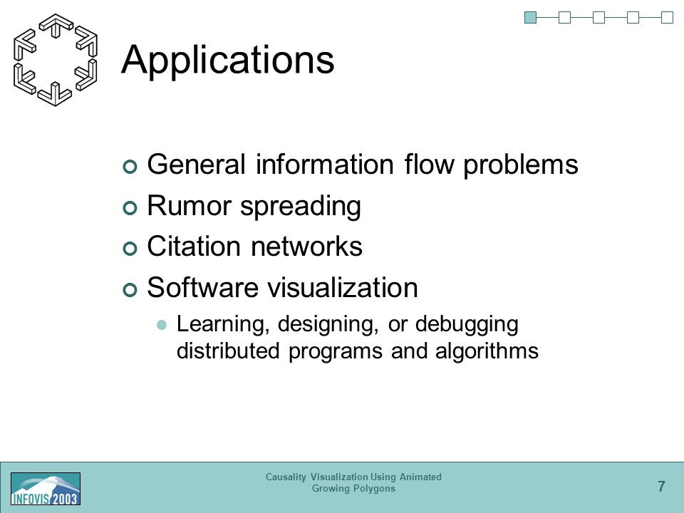 7 Causality Visualization Using Animated Growing Polygons Applications General information flow problems Rumor spreading Citation networks Software visualization Learning, designing, or debugging distributed programs and algorithms