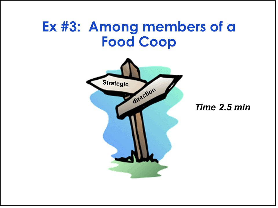 Ex #3: Among members of a Food Coop Time 2.5 min Strategic direction