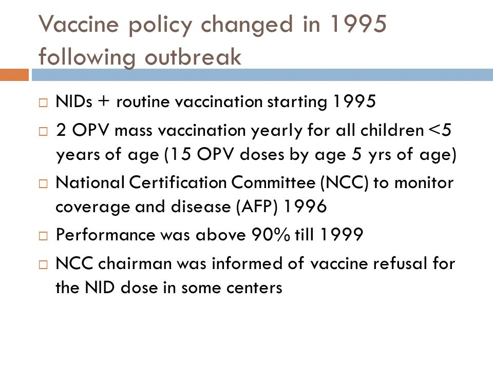 Vaccine policy changed in 1995 following outbreak  NIDs + routine vaccination starting 1995  2 OPV mass vaccination yearly for all children <5 years of age (15 OPV doses by age 5 yrs of age)  National Certification Committee (NCC) to monitor coverage and disease (AFP) 1996  Performance was above 90% till 1999  NCC chairman was informed of vaccine refusal for the NID dose in some centers