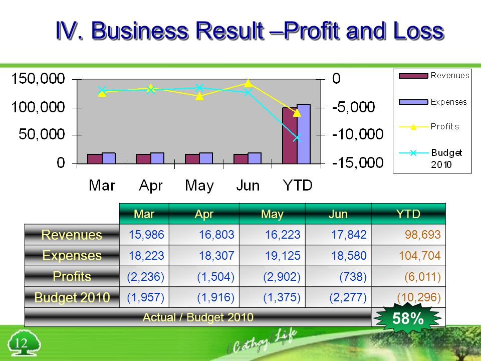 IV. Business Result –Profit and Loss MarAprMayJunYTD Revenues 15,98616,80316,22317,84298,693 Expenses 18,22318,30719,12518,580104,704 Profits (2,236)(