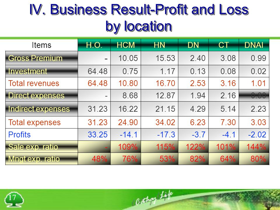 IV. Business Result-Profit and Loss by location ItemsH.O.HCMHNDNCTDNAI Gross Premium - 10.0515.532.403.080.99 Investment64.480.751.170.130.080.02 Tota