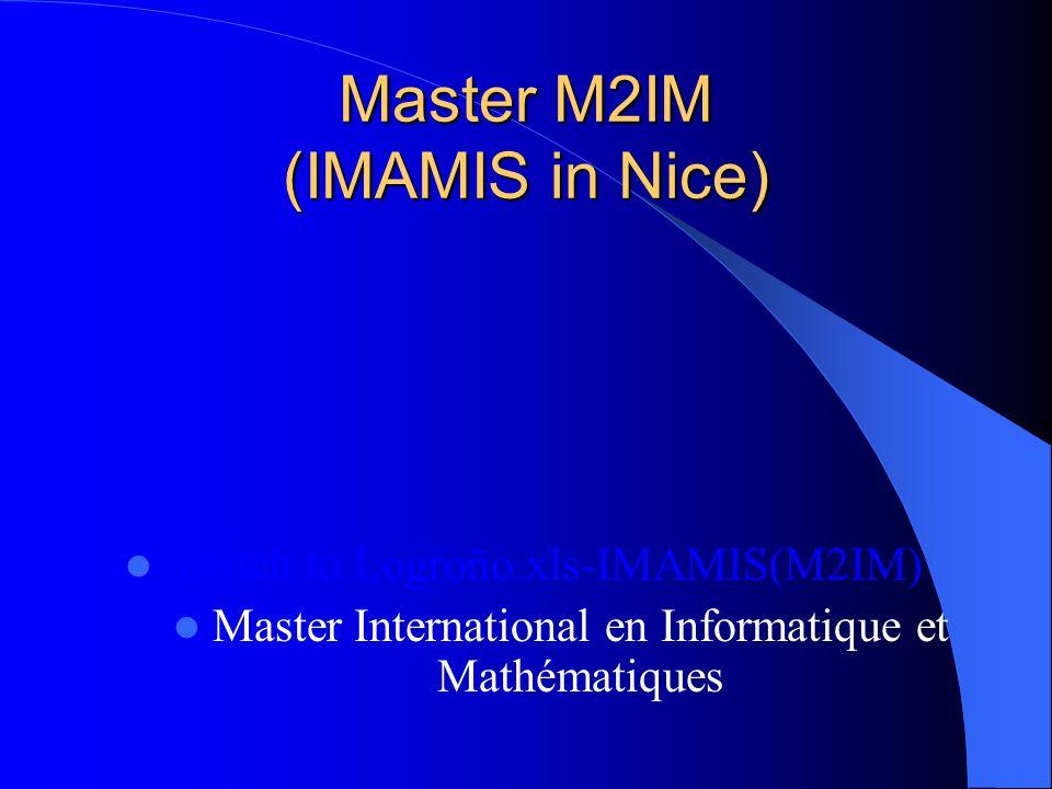 Master M2IM (IMAMIS in Nice) Switch to Logroño.xls-IMAMIS(M2IM) Master International en Informatique et Mathématiques