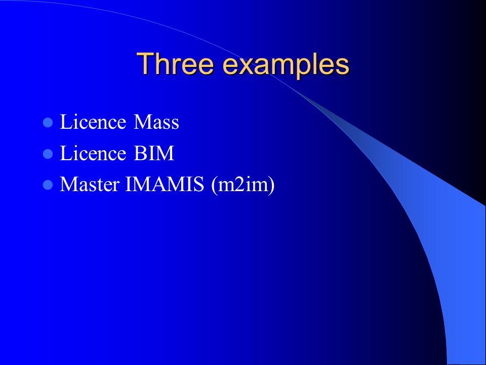Three examples Licence Mass Licence BIM Master IMAMIS (m2im)