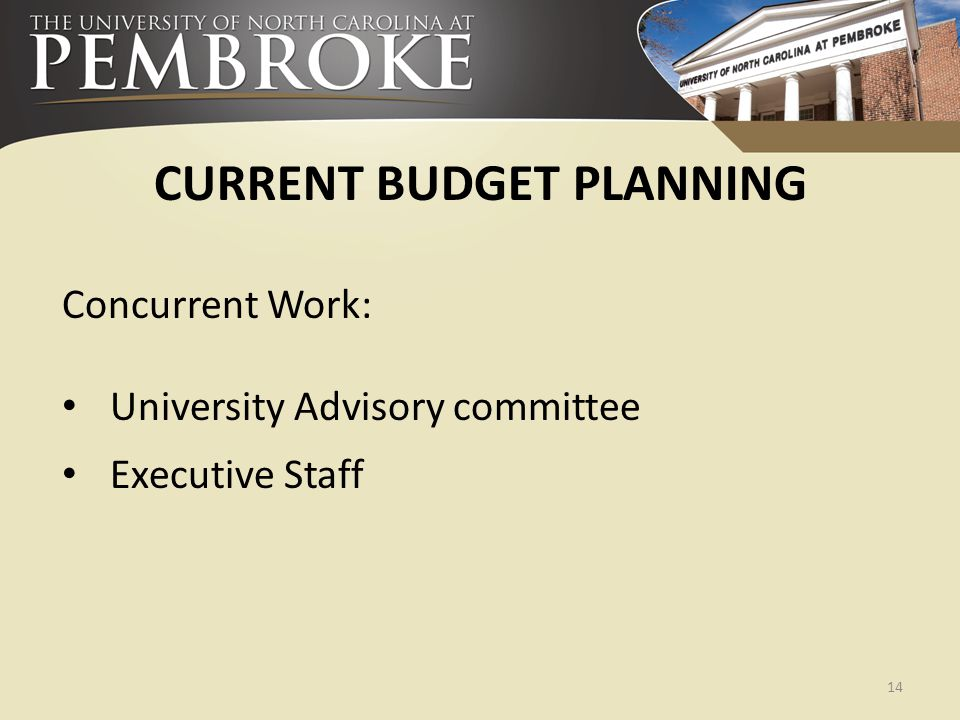 CURRENT BUDGET PLANNING Concurrent Work: University Advisory committee Executive Staff 14