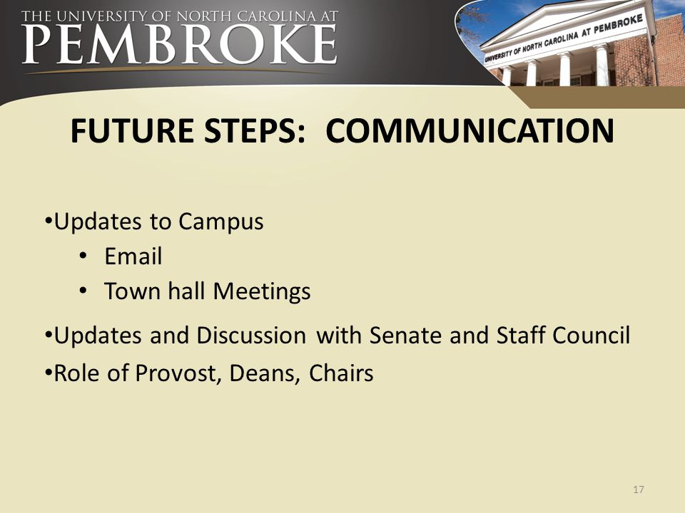 FUTURE STEPS: COMMUNICATION Updates to Campus Email Town hall Meetings Updates and Discussion with Senate and Staff Council Role of Provost, Deans, Ch