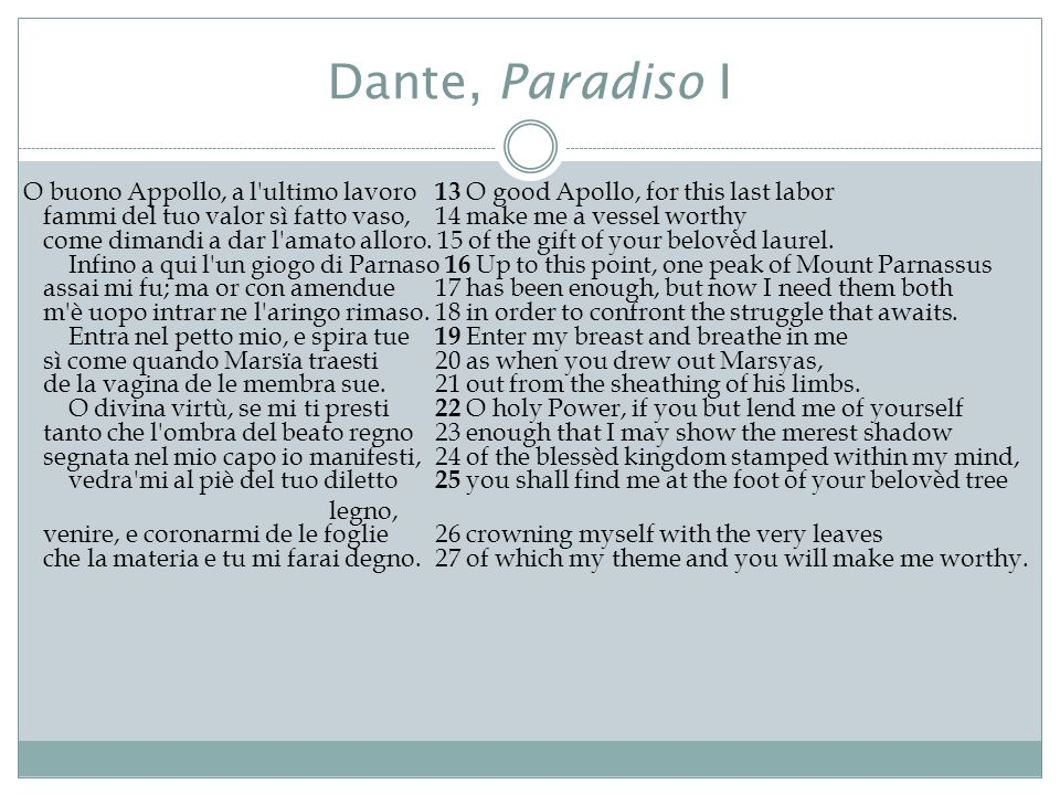 Dante, Paradiso I O buono Appollo, a l ultimo lavoro 13 O good Apollo, for this last labor fammi del tuo valor sì fatto vaso, 14 make me a vessel worthy come dimandi a dar l amato alloro.