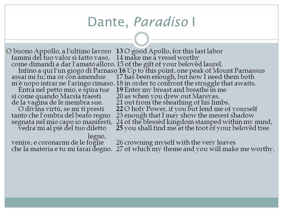 Dante, Paradiso I O buono Appollo, a l'ultimo lavoro 13 O good Apollo, for this last labor fammi del tuo valor sì fatto vaso, 14 make me a vessel wort