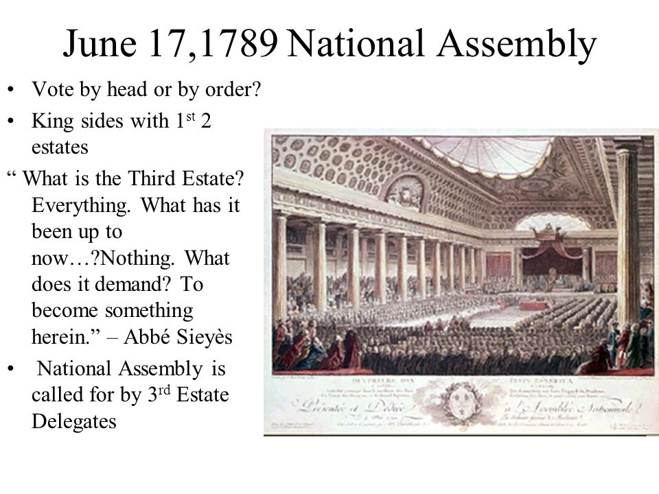 June 17,1789 National Assembly Vote by head or by order.